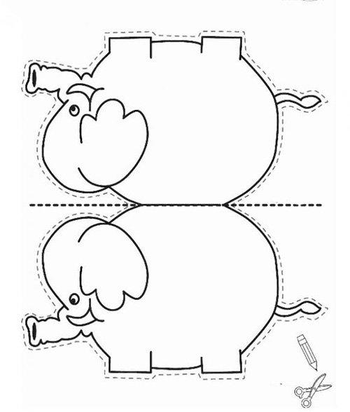 Детские поделки из цветной бумаги с шаблонами. Схема 5 - слон