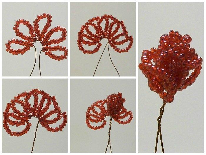 Розы из бисера, схема плетения - фото 4