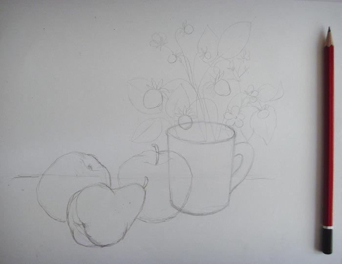 Нарисованный натюрморт карандашом поэтапно для начинающих