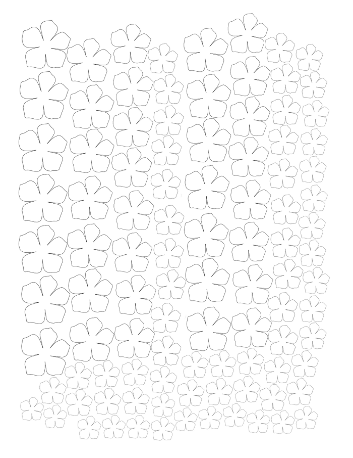 Аплікація з паперу квіти - шаблон 3
