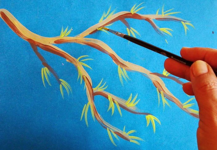Як намалювати яблуню, або гілку яблуні крок 5