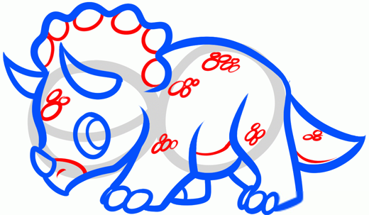 Как нарисовать динозавра Трицератопса шаг 5