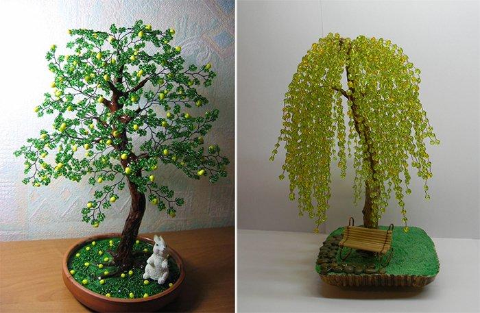Легкие деревья из бисера для начинающих своими руками 14