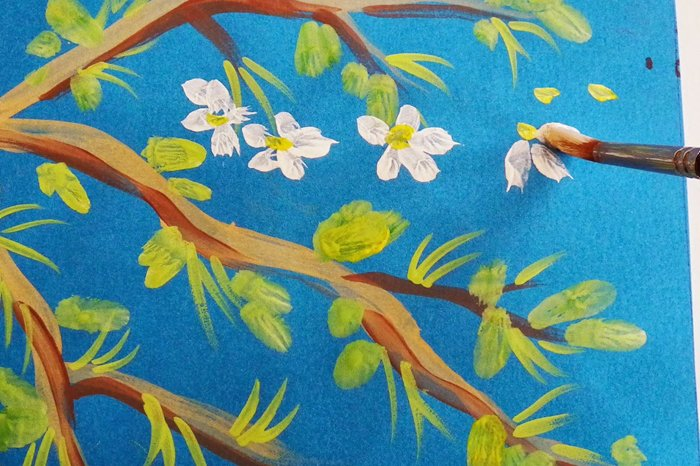 Як намалювати яблуню, або гілку яблуні крок 7