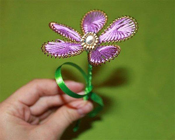 Квіти з ниток і дроту. Майстер-клас, фото 7