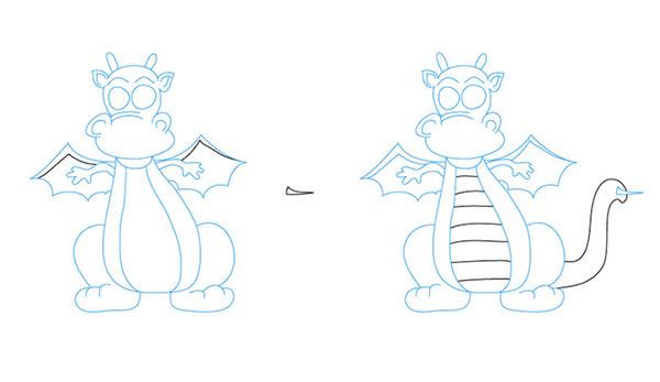 Как рисовать драконов шаг за шагом, схема 5 - этап 5