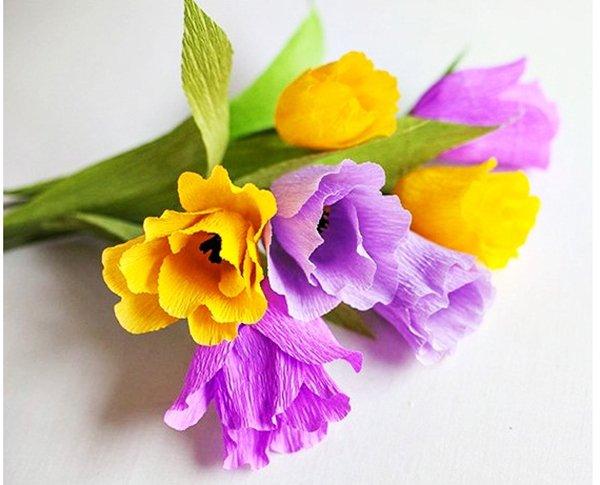 Как сделать тюльпаны из гофрированной бумаги – схема, фото 12