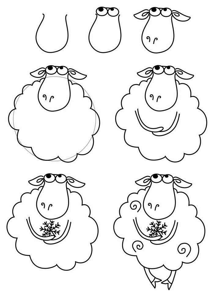 Как нарисовать барашка схема 1