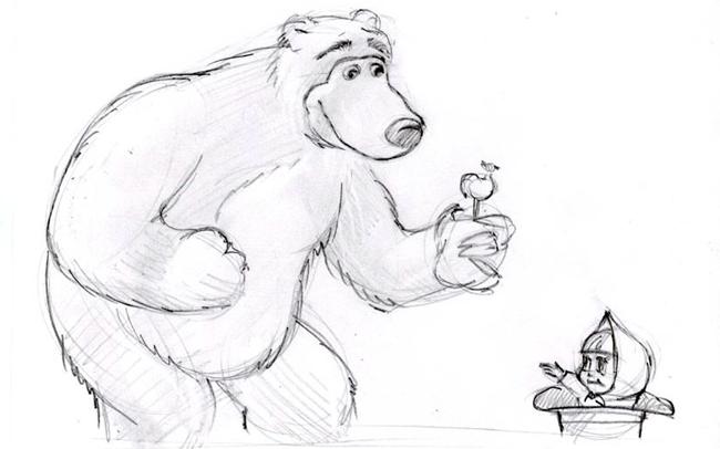 """Рисуем медведя из мультика """"Маша и Медведь"""" шаг 5"""