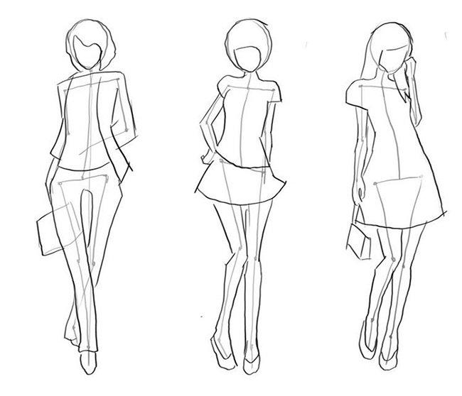 Как нарисовать девочку, эскиз 2
