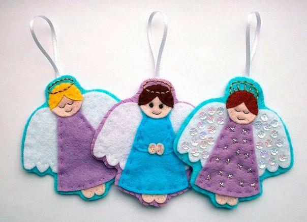Новогодние игрушки из фетра, фото 19