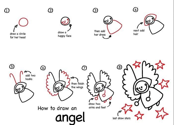 Как нарисовать ангела схема 6
