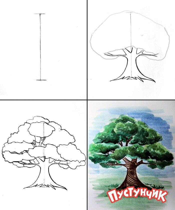 Как нарисовать дерево - дуб, фото 1