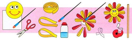 Детские поделки из цветной бумаги с шаблонами. Схема 1 - солнышко