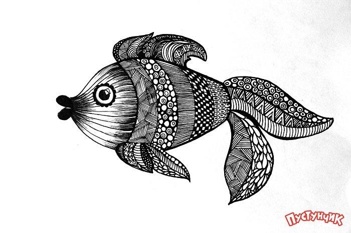 Зентангл тварини - рибка, фото 11