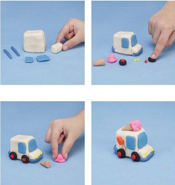 Фигурки из пластилина - фургончик мороженщика, фото 1
