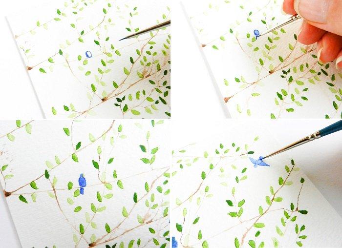Как рисовать птицу на ветке акварелью шаг 4