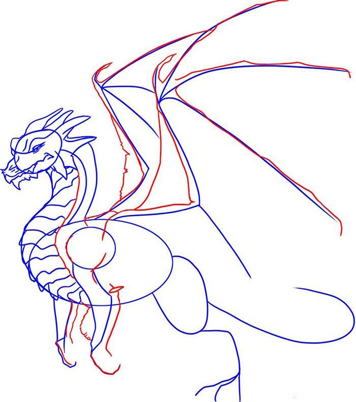 Как рисовать драконов шаг за шагом, схема 6 - этап 4