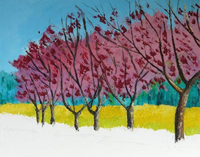 Рисуем весенний пейзаж мастихином, шаг 7
