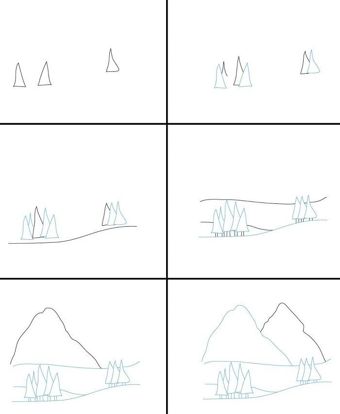 Как <i>нарисовать высокую гору</i> нарисовать горы карандашом, схема №2