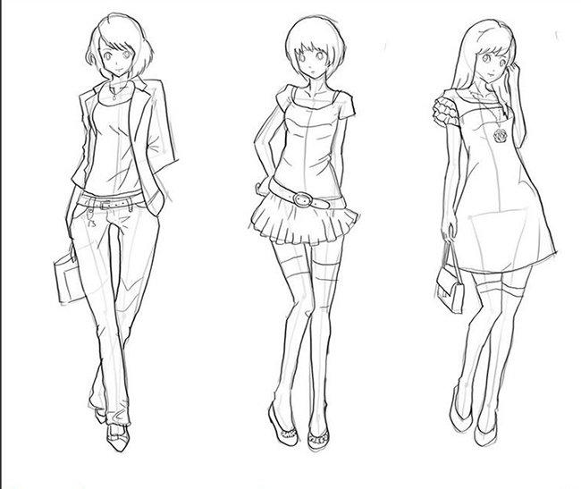 Как нарисовать девочку, эскиз 4