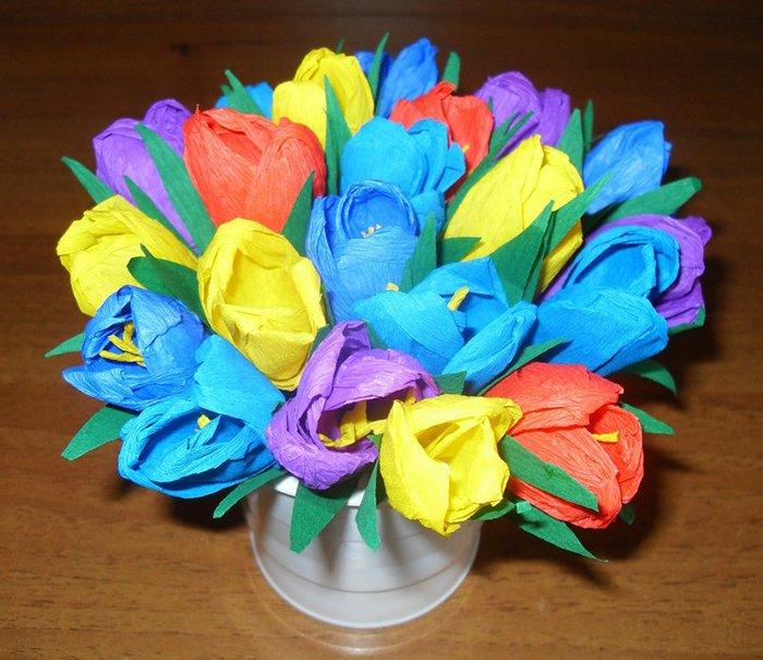 Как сделать тюльпаны из гофрированной бумаги – схема, фото 7