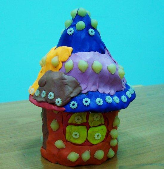 Лепка из пластилина для самых маленьких. Инструкция - домик, фото 1