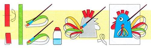 Детские поделки из цветной бумаги с шаблонами. Схема 3 - петух