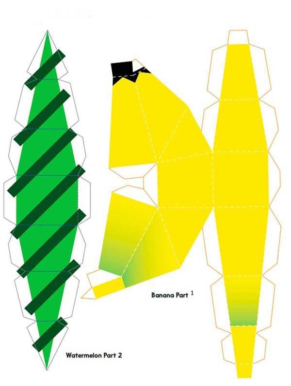 Объемные поделки из бумаги. Шаблоны фруктов для объемной аппликации, фото 4