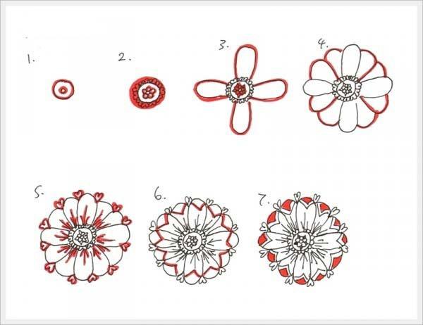 Рисуем орнамент цветок 2