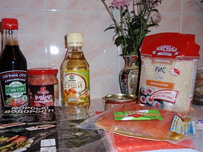 Ингредиенты для приготовления суши, шаг 1