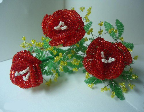 Троянди з бісеру, схеми. Майстер-клас - фото 13