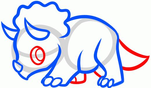 Как нарисовать динозавра Трицератопса шаг 4