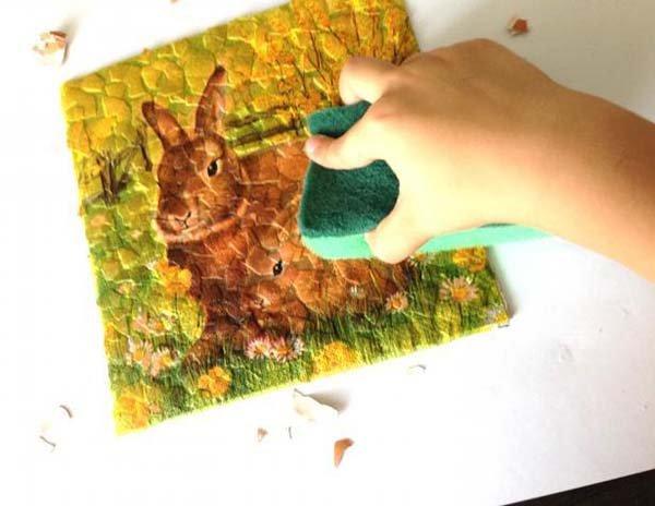 Простая мозаика из яичной скорлупы для детей, фото 9