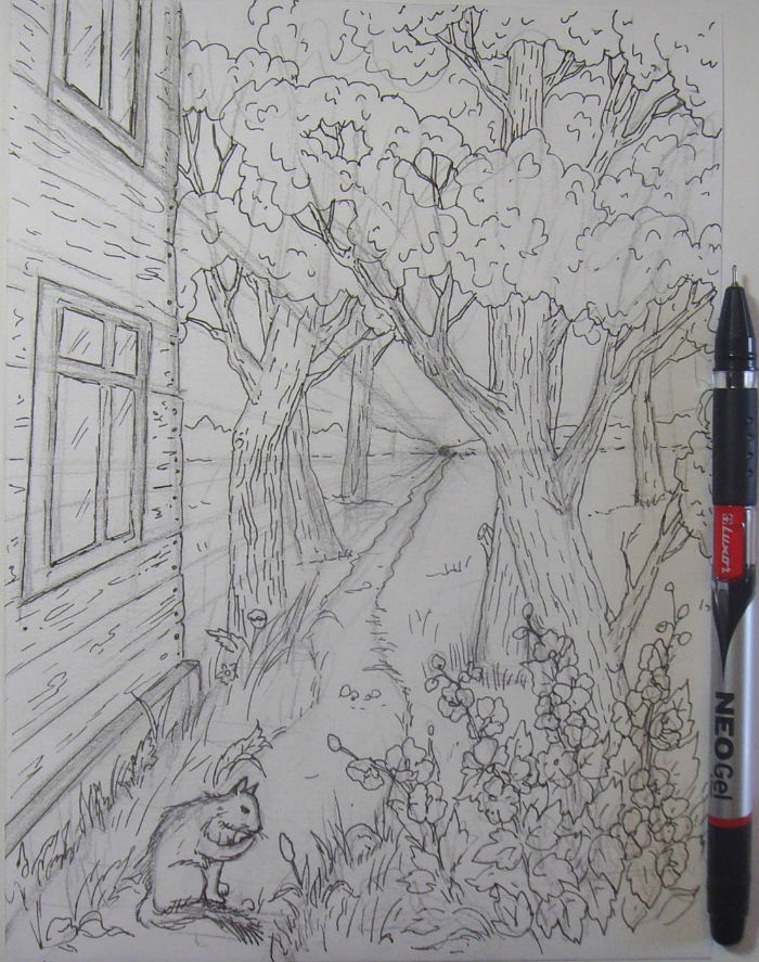 Как нарисовать пейзаж цветными карандашами, шаг 5