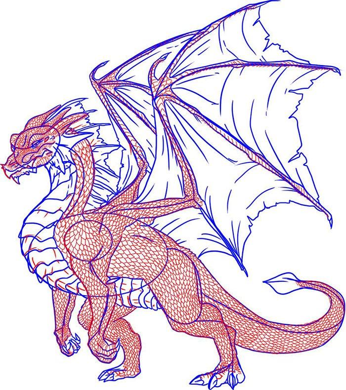 Как рисовать драконов шаг за шагом, схема 6 - этап 8