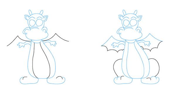Как рисовать драконов шаг за шагом, схема 5 - этап 4