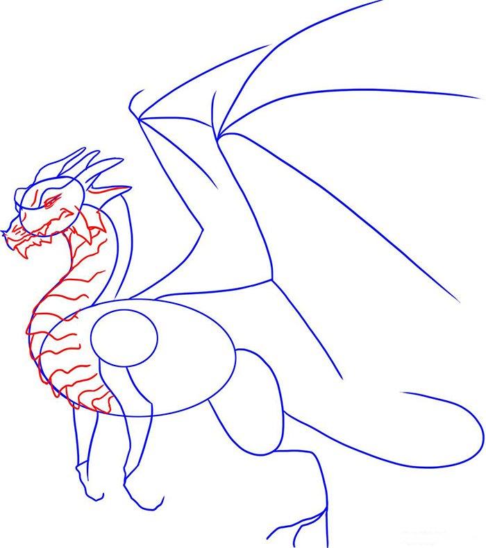 Как рисовать драконов шаг за шагом, схема 6 - этап 3