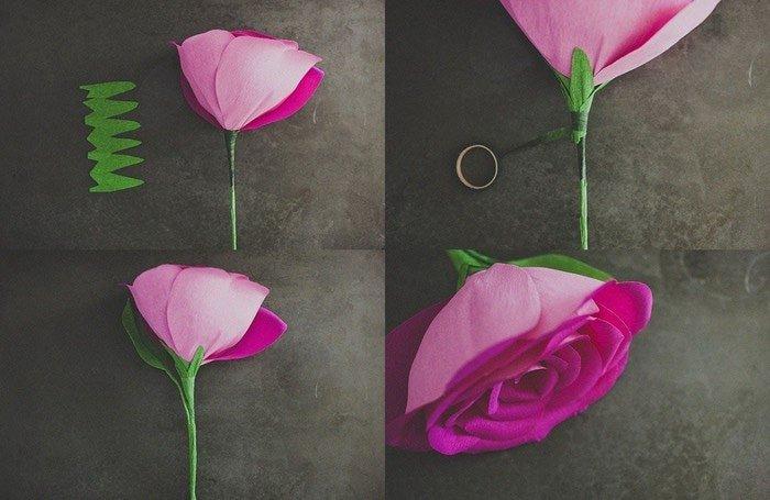Розы из гофробумаги своими руками - фото 4