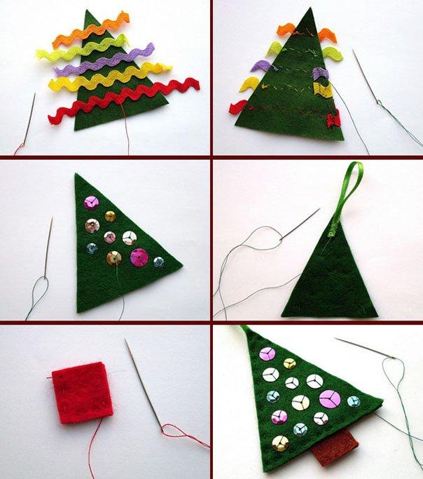 Новогодние игрушки из фетра, фото 6