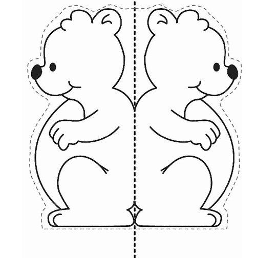 Детские поделки из цветной бумаги с шаблонами. Схема 6 - мишка