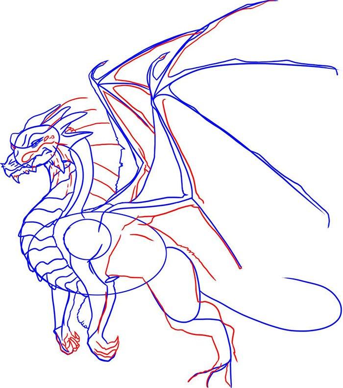 Как рисовать драконов шаг за шагом, схема 6 - этап 5