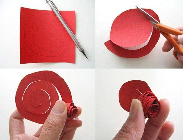 Как сделать розу из цветной бумаги детям