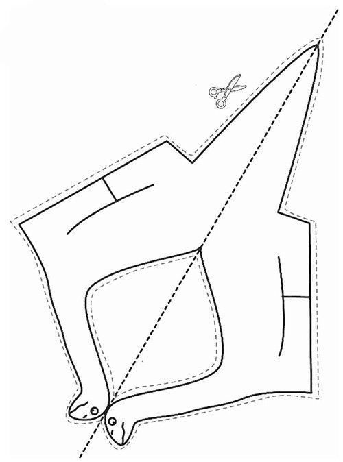 Вироби з кольорового паперу для дітей. Схема 8 - динозавр
