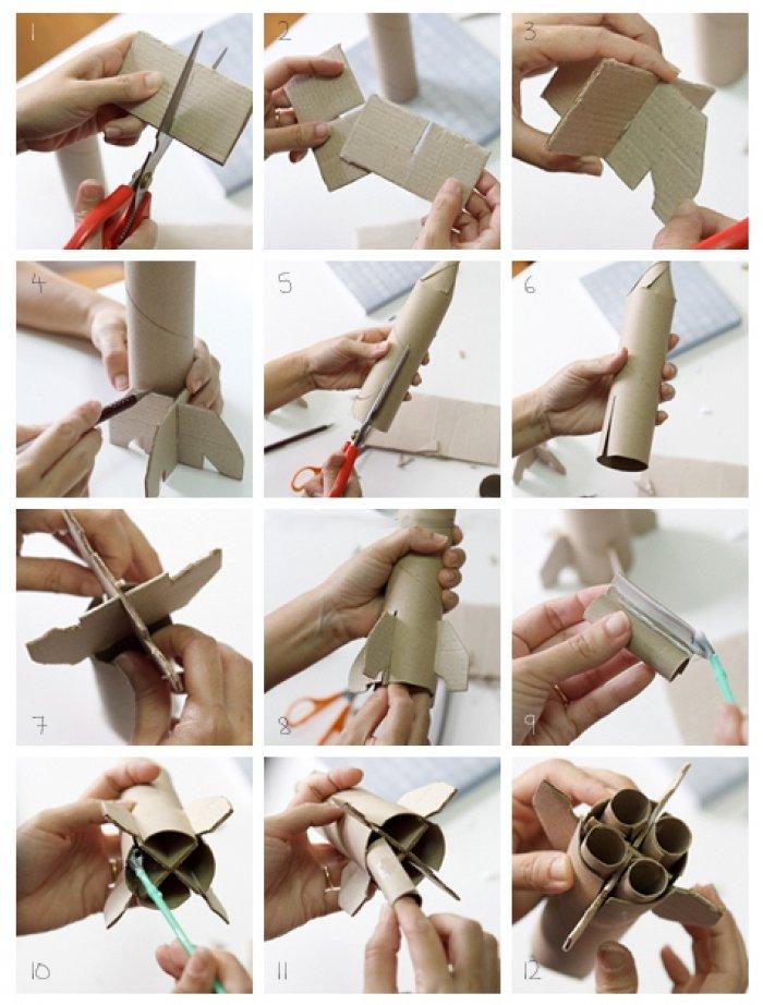 Поделка ракета из рулона от туалетной бумаги