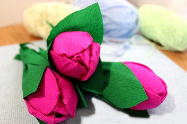 Как сделать тюльпаны из гофрированной бумаги – схема, фото 21