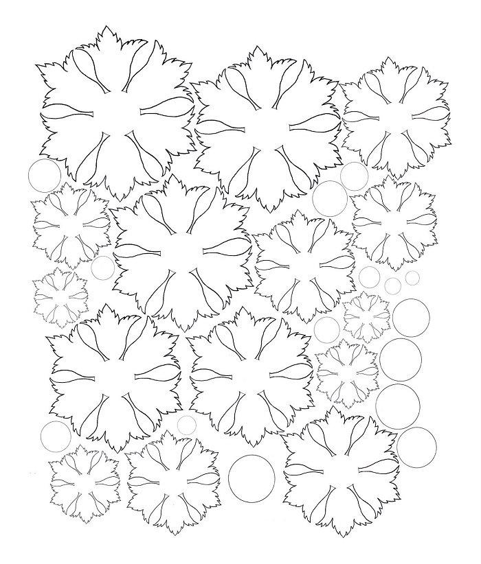 Аплікація з паперу квіти - шаблон 2
