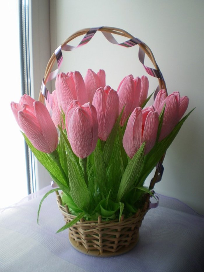 Как сделать тюльпаны из гофрированной бумаги – схема, фото 6