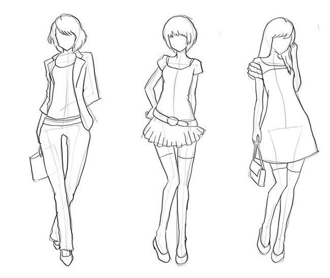 Как нарисовать девочку, эскиз 3