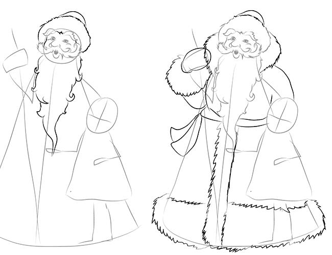 Как нарисовать Деда Мороза схема 3